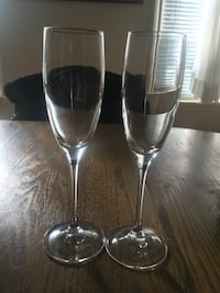 Eight champagne glasses