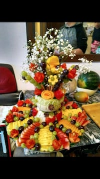 assorted sliced fruits table decor