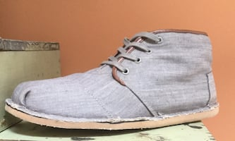 TOMS Gray, Canvas Shoes High-Top, Lace-Up, Ankle Chukka Boots-Size 12M