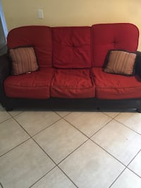 Red fabric 3-seat sofa Coral Springs, 33065