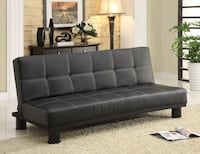 black leather tufted sofa bed