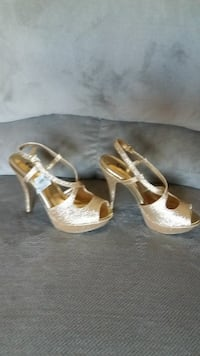 pair of gold-colored peep-toe platform ankle strap Manassas, 20109