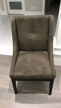 brown wooden framed gray padded chair Surrey, V3W 5Z7