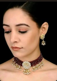 Kundan pearl choker with earrings Indian Pakistani Laval, H7W 2Z9