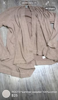 ROOTS*summer sweater 100%cotton retailed close to 80$ London, N5W 1E8
