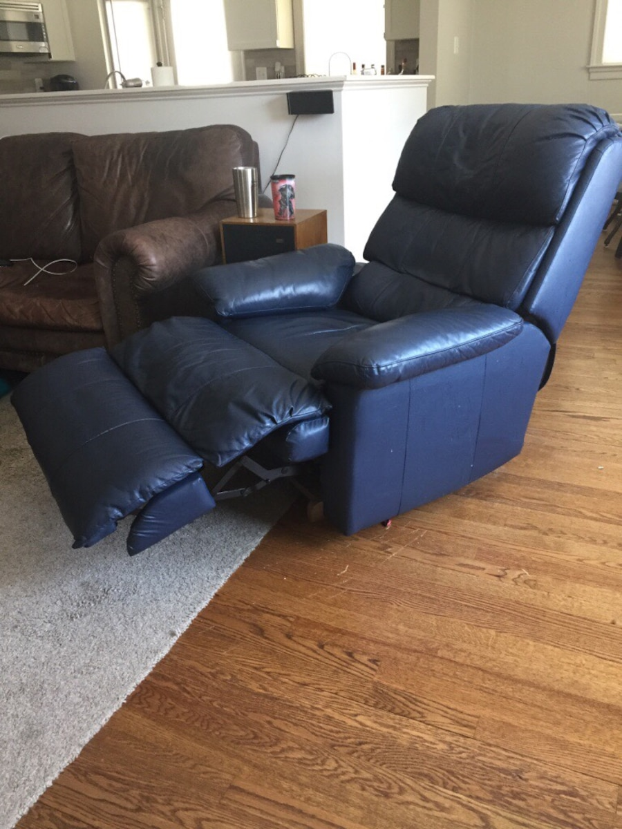 Used Blue Leather Recliner Chair In Arlington