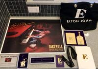 Elton John VIP merchandise package (poster, cert of authenticity, E keychain, pen + pencil, E VIP pass, notebook, bag, and luggage tag) Portland, 97219