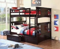 Full over full bunk bed divisible to 2 bed ( new ) Hayward