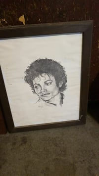 Michael Jackson sketch with brown wooden frame