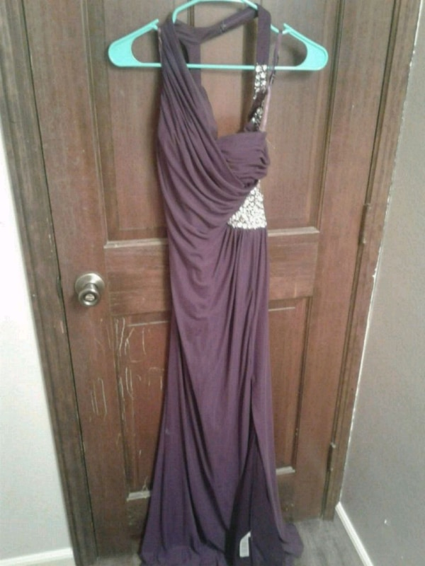 purple and gray spaghetti strap dress