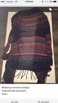 black and brown stripe BIllabong long cardigan screenshot