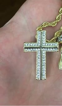 """14k gold plated cross pendant with robed 24"""" chain."""