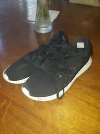 pair of black-and-white low top sneakers