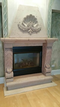 Limestone mantle, posts and step for fireplace Park Ridge, 60068