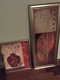 two red and brown leave and vase paintings