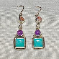 Genuine Navajo Sterling Silver Turquoise Earrings Ashburn