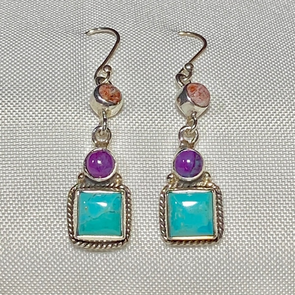 Genuine Navajo Sterling Silver Turquoise Earrings 54788ce2-97e3-4c18-90fe-aceb8796b483