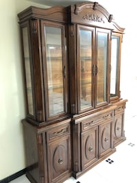 Brown wooden framed glass display cabinet 547 km