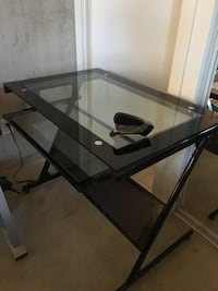 Black metal framed glass top computer desk Toronto, M6J 0A2