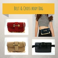 Belt and cross body bag in black tan and red El Monte, 91732