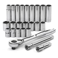 """Craftsman 24 pc. 1/2"""" Drive Socket Wrench Metric Set with 84-Tooth Ratchet Houston"""