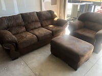 Suede Couch with Large Chair and Ottoman Dumfries, 22026