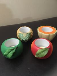 three green, yellow, and pink ceramic bowls Leesburg, 20176