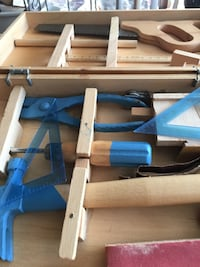 Children's starter tool set in wood carrying case