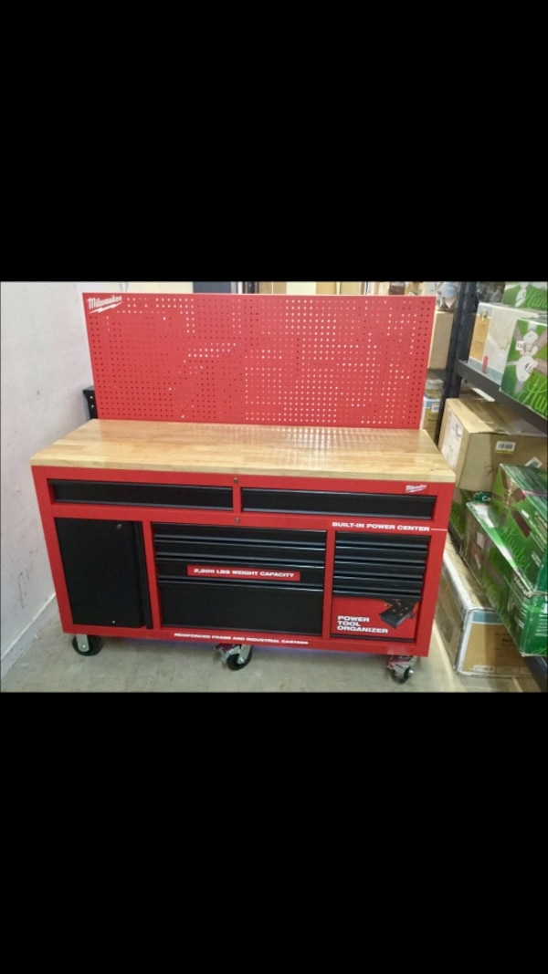 Swell Milwaukee 61 In 11 Drawer 1 Door 22 In D Mobile Workbench With Sliding Pegboard Back Wall In Red Black 639 Machost Co Dining Chair Design Ideas Machostcouk