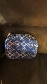 blue and white floral leather crossbody bag East Patchogue, 11772