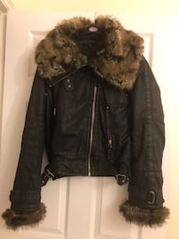 black and brown leather fur zippered jacket Bristol, BS16
