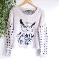 Guess Owl Printed Fuzzy Intarsia Knit Sweater Size M.  Laval, H7N 4Z7