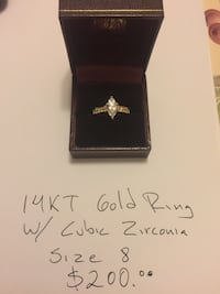 14kt gold ring with cubic zirconia size 8 $200 Arlington, 22204