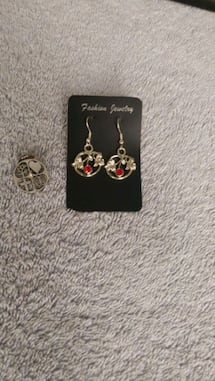 Red crystal inlaid silver earrings & tree of life