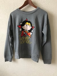 Sweat-shirt à col ras du cou imprimé gris Wonder Woman
