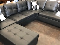 Contemporary black faux leather sectional with a matching storage ottoman Sacramento, 95841