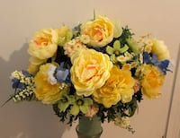 Yellow and white petaled flowers. Cemetery Arrangement  Greer, 29651