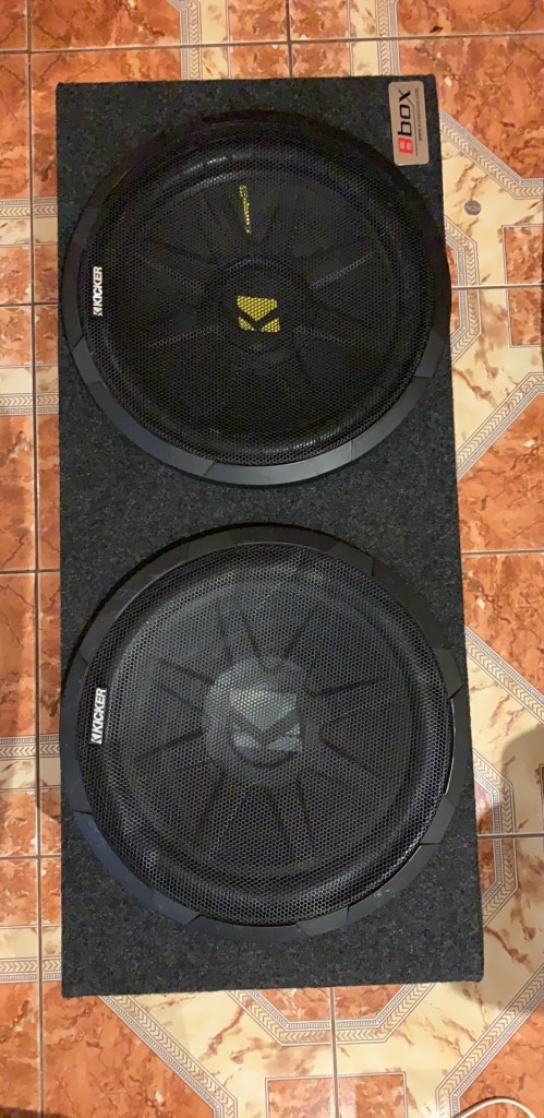 Photo Dual 12 Kicker Subwoofers with Case
