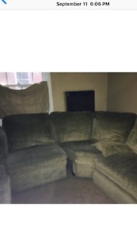Brown/beige 7 seat sectional with 2 seats reclining