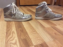 Silver high top coach sneakers