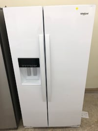 New scratch and dent counter depth gloss white Whirlpool side-by-side refrigerator five months warranty Baltimore, 21222