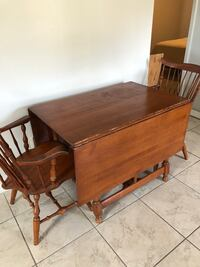 Solid Wood Drop-Leaf Table with Two Duxbury Chairs 786 mi