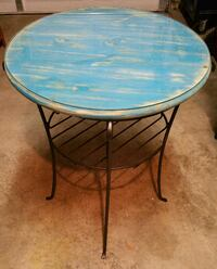 Longaberger Wrought Iron Tall Side Table with Custom Wood Top/Glass Fort Myers