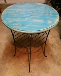 Longaberger Wrought Iron Tall Side Table with Custom Wood Top/Glass