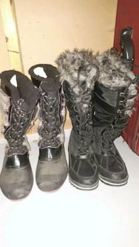 two pairs of black and gray snow boots Winnipeg, R2K 3S2