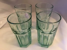 Libby Duratuff Green Juice Glasses, Excellent Condition