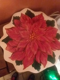 red Poinsettia flower painting