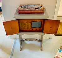 Antique radio cabinet gray accent table Rockville, 20855