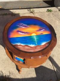 """Airbrushed Table 25 1/2"""" tall 27"""" wide $140. Or best offer  Pennsburg, 18073"""