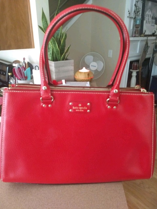 61c3734de228 Used Red Kate Spade leather tote bag for sale in Woodstock - letgo